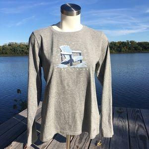 NWT Life is Good grey long sleeve winter tee shirt